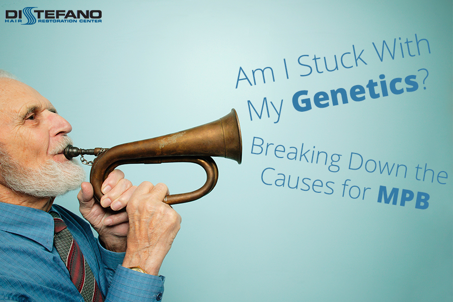 A man playing a bugel with the words 'Am I Stuck With My Genetics? Breaking Down the Causes for MPB'